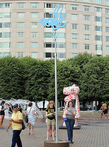 WATER FORMS 2014  water-jet cut aluminum, enamel  11 x3 x 3' Christian Science Center Plaza, Boston, MA